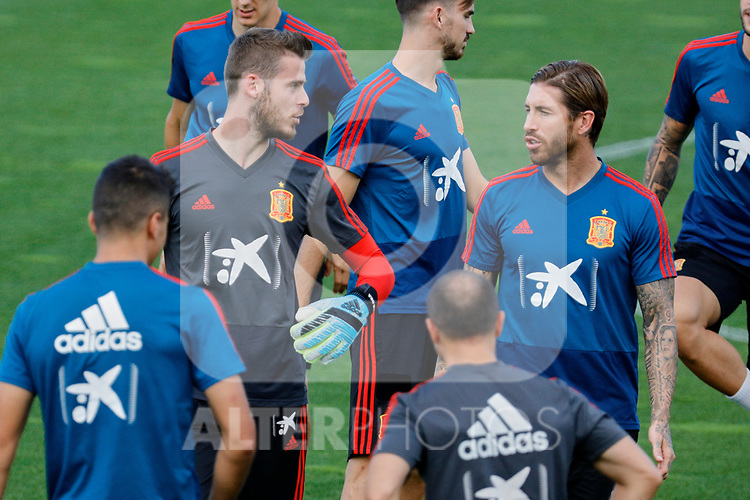 David de Gea and Sergio Ramos during the Trainee Session at Ciudad del Futbol in Las Rozas, Spain. September 02, 2019. (ALTERPHOTOS/A. Perez Meca)