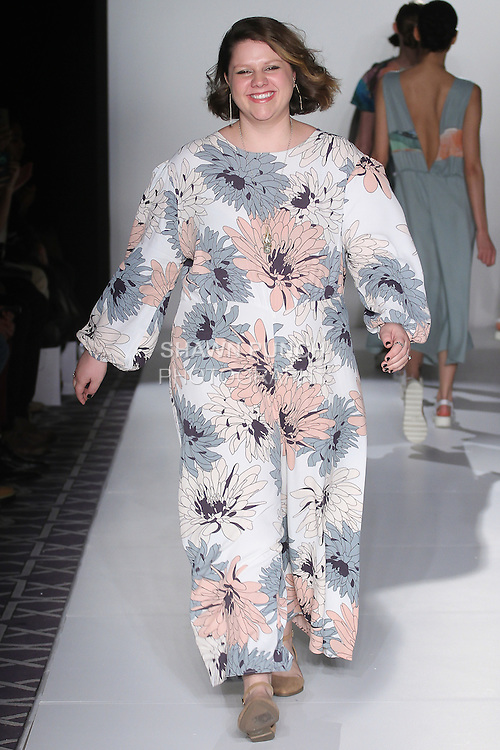 Fashion designer Cassie O'Toole walks runway at the close of her Cassie O'Toole Fall 2016 collection, at the Emerging Designers Fall 2016 show, at Fashion Gallery New York Fashion Week Fall Winter 2016, during New York Fashion Week Fall 2016.