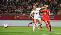 20181005 - LEUVEN , BELGIUM : Belgian Janice Cayman (R) and Switzerland's Lia Walti (L)  pictured during the female soccer game between the Belgian Red Flames and Switzerland , the first leg in the semi finals play offs for qualification for the World Championship in France 2019, Friday 5 th october 2018 at OHL Stadion Den Dreef in Leuven , Belgium. PHOTO SPORTPIX.BE | DIRK VUYLSTEKE