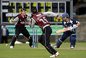 Scottish Saltires V Somerset Sabres, Friends Provident Trophy, Grange CC, Edinburgh - Sabres keeper Craig Kieswetter appeals as the ball glances past Saltires Cameron Borgas - the lbw was not given, and Borgas went on to score 78 - Picture by Donald MacLeod - 20 May 2009