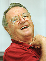 TALLAHASSEE, FL. 8/8/99-Florida State University Football Coach Bobby Bowden talks about his teams chances to claim the national championship during media day Sunday in Tallahassee. COLIN HACKLEY PHOTO