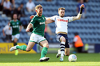 Preston North End's Tom Barkhuizen (right) battles with Sheffield Wednesday's Tom Lees<br /> <br /> Photographer Rich Linley/CameraSport<br /> <br /> The EFL Championship - Preston North End v Sheffield Wednesday - Saturday August 24th 2019 - Deepdale Stadium - Preston<br /> <br /> World Copyright © 2019 CameraSport. All rights reserved. 43 Linden Ave. Countesthorpe. Leicester. England. LE8 5PG - Tel: +44 (0) 116 277 4147 - admin@camerasport.com - www.camerasport.com