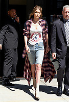 WWW.ACEPIXS.COM<br /> <br /> April 11, 2017 New York City<br /> <br /> Model Gigi Hadid leaving her Manhattan hotel on April 11 2017 in New York City.<br /> <br /> <br /> Please byline: Curtis Means/ACE Pictures<br /> <br /> ACE Pictures, Inc.<br /> www.acepixs.com, Email: info@acepixs.com<br /> Tel: 646 769 0430