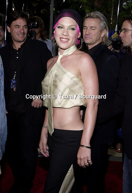 Pink arriving at the premiere of MOULIN ROUGE at the Academy of Motion Picture in Los Angeles  wednesday 5/16/2001 © Tsuni          -            Pink05.jpg