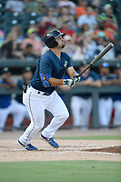 First baseman Chase Chambers (8) of the Columbia Fireflies bats in a game against the Augusta GreenJackets on Saturday, June 1, 2019, at Segra Park in Columbia, South Carolina. Columbia won, 3-2. (Tom Priddy/Four Seam Images)