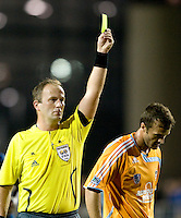 13 September 2008: Referee Silviu Petrescu gives a yellow card to Eddie Robinson after a hard foul during the game against the Earthquakes at Buck Shaw Stadium in Santa Clara, California.   San Jose Earthquakes tied Houston Dynamo, 1-1.