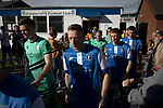 The players making their way on to the pitch at the UTS Stadium before the FA Cup fourth qualifying round match between Dunston UTS (in blue) and their local rivals Gateshead. Founded in 1975, the home team were formerly known as Dunston Federation. The visitors won 4-0 watched by a record crowd of 2,500.