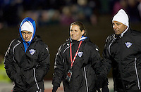 Boston Breakers assistant coach Katie Shields, Boston Breakers assistant coach Lisa Cole, and Boston Breakers head coach Tony DiCicco. The Boston Breakers defeated Saint Louis Athletica, 2-0, at Harvard Stadium on April 11, 2009.