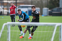 Wednesday  06 January 2016<br /> Pictured L-R: Franck Tabanou and Jack Cork of Swansea in action during training<br /> Re: Swansea City Training session at the Fairwood training ground, Swansea, Wales, UK