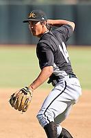 Mesa Solar Sox infielder Tyler Saladino #14 during practice before an Arizona Fall League game against the Phoenix Desert Dogs at Phoenix Municipal Stadium on October 31, 2011 in Phoenix, Arizona.  Mesa defeated Phoenix 3-1.  (Mike Janes/Four Seam Images)