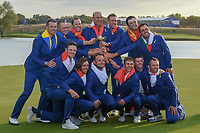 Team Europe celebrates winning the 2018 Ryder Cup following Sunday's singles of the 2018 Ryder Cup, Le Golf National, Guyancourt, France. 9/30/2018.<br /> Picture: Golffile | Ken Murray<br /> <br /> <br /> All photo usage must carry mandatory copyright credit (&copy; Golffile | Ken Murray)