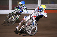 Heat 10: Peter Ljung (blue) and Maciej Jankowski (yellow) - Lakeside Hammers vs Swindon Robins, Elite League Speedway at the Arena Essex Raceway, Purfleet - 03/09/10 - MANDATORY CREDIT: Rob Newell/TGSPHOTO - Self billing applies where appropriate - 0845 094 6026 - contact@tgsphoto.co.uk - NO UNPAID USE.