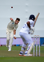 NZ's Tim Southee bowls during day one of the International Test Cricket match between the New Zealand Black Caps and India at the Basin Reserve in Wellington, New Zealand on Friday, 21 February 2020. Photo: Dave Lintott / lintottphoto.co.nz