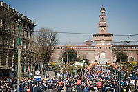 race start in front of the Castello Sforzesco<br /> <br /> 110th Milano-Sanremo 2019 (ITA)<br /> One day race from Milano to Sanremo (291km)<br /> <br /> ©kramon