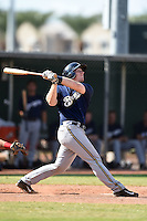 Milwaukee Brewers catcher Greg McCall (64) during an Instructional League game against the Los Angeles Angels of Anaheim on October 9, 2014 at Tempe Diablo Stadium Complex in Tempe, Arizona.  (Mike Janes/Four Seam Images)