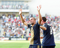 Fred #7 of the Philadelphia Union acknowledges the crowd after scoring the game winning goal against the Seattle Sounders FC during the first MLS match at PPL stadium in Chester, PA. on June 27 2010. Union won 3-2.