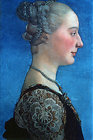 Paintings:  Antonio Del Pollaiolo, 1432-98.  Portrait of a Lady.  Galleria Uffizi, Florence.  Reference only.