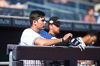 Peoria Javelinas third baseman Hudson Potts (13), of the San Diego Padres organization, in the dugout during an Arizona Fall League game against the Scottsdale Scorpions at Peoria Sports Complex on November 15, 2018 in Mesa, Arizona. Peoria defeated Scottsdale 2-1. (Zachary Lucy/Four Seam Images)