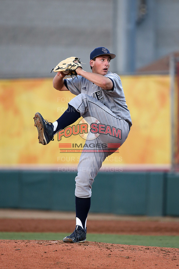 Andre Pallante (41) of the UC Irvine Anteaters pitches against the Southern California Trojans at Dedeaux Field on April 18, 2017 in Los Angeles, California. UC Irvine defeated Southern California, 14-3. (Larry Goren/Four Seam Images)
