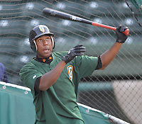 June 5, 2008: Outfielder Francisco Peguero (34) of the Augusta GreenJackets, Class A affiliate of the San Francisco Giants, prior to a game against the Greenville Drive at Fluor Field at the West End in Greenville, S.C. Photo by:  Tom Priddy/Four Seam Images