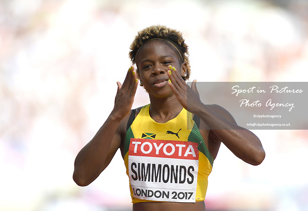 Megan SIMMONDS (JAM) in the womens 100m hurdles heats. IAAF world athletics championships. London Olympic stadium. Queen Elizabeth Olympic park. Stratford. London. UK. 11/08/2017. ~ MANDATORY CREDIT Garry Bowden/SIPPA - NO UNAUTHORISED USE - +44 7837 394578