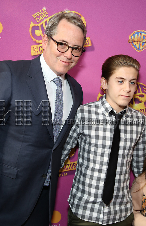 Martthew Broderick and James Wilkie Broderick attend the Broadway Opening Performance of 'Charlie and the Chocolate Factory' at the Lunt-Fontanne Theatre on April 23, 2017 in New York City.