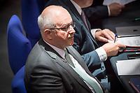 """30. Sitzung des Deutschen Bundestag am Freitag den 27. April 2018.<br /> Im Bild: Volker Kauder, Vorsitzender der CDU/CSU-Bundestagsfraktion, waehrend der Debatte zum Thema """"Lage der Religions- und Weltanschauungsfreiheit"""".<br /> 27.4.2018, Berlin<br /> Copyright: Christian-Ditsch.de<br /> [Inhaltsveraendernde Manipulation des Fotos nur nach ausdruecklicher Genehmigung des Fotografen. Vereinbarungen ueber Abtretung von Persoenlichkeitsrechten/Model Release der abgebildeten Person/Personen liegen nicht vor. NO MODEL RELEASE! Nur fuer Redaktionelle Zwecke. Don't publish without copyright Christian-Ditsch.de, Veroeffentlichung nur mit Fotografennennung, sowie gegen Honorar, MwSt. und Beleg. Konto: I N G - D i B a, IBAN DE58500105175400192269, BIC INGDDEFFXXX, Kontakt: post@christian-ditsch.de<br /> Bei der Bearbeitung der Dateiinformationen darf die Urheberkennzeichnung in den EXIF- und  IPTC-Daten nicht entfernt werden, diese sind in digitalen Medien nach §95c UrhG rechtlich geschuetzt. Der Urhebervermerk wird gemaess §13 UrhG verlangt.]"""
