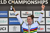 10th September 2017, Smithfield Forest, Cairns, Australia; UCI Mountain Bike World Championships; first place Miranda Miller (CAN) riding for Specialized Gravity on the podium for the elite womens downhill race;