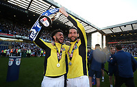 Blackburn Rovers' Derrick Williams  and Blackburn Rovers' Charlie Mulgrew celebrate at the end of todays match<br /> <br /> Photographer Rachel Holborn/CameraSport<br /> <br /> The EFL Sky Bet League One - Blackburn Rovers v Oxford United - Saturday 5th May 2018 - Ewood Park - Blackburn<br /> <br /> World Copyright &copy; 2018 CameraSport. All rights reserved. 43 Linden Ave. Countesthorpe. Leicester. England. LE8 5PG - Tel: +44 (0) 116 277 4147 - admin@camerasport.com - www.camerasport.com