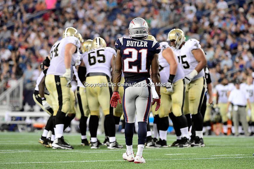 Thursday August 11, 2016: New England Patriots cornerback Malcolm Butler (21) waits for the offense to break the huddle during an NFL pre-season game between the New Orleans Saints and the New England Patriots held at Gillette Stadium in Foxborough Massachusetts. The Patriots defeat the Saints 34-22 in regulation time. Eric Canha/CSM