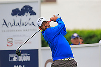 Pablo Larrazabal (ESP) tees off the 1st tee during Saturday's rain delayed Round 2 of the Andalucia Valderrama Masters 2018 hosted by the Sergio Foundation, held at Real Golf de Valderrama, Sotogrande, San Roque, Spain. 20th October 2018.<br /> Picture: Eoin Clarke | Golffile<br /> <br /> <br /> All photos usage must carry mandatory copyright credit (&copy; Golffile | Eoin Clarke)