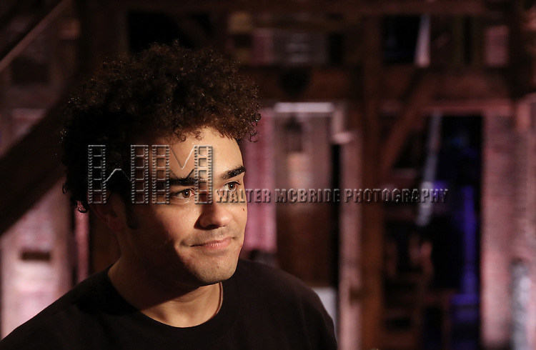 Andrew Chappelle backstage before the cast Q & A for The Rockefeller Foundation and The Gilder Lehrman Institute of American History sponsored High School student matinee performance of  'Hamilton' at the Richard Rodgers Theatre on 2/8/2017 in New York City.