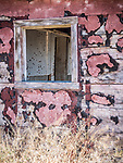 Pink walls, windows, ghost town of Beowawe, Nevada