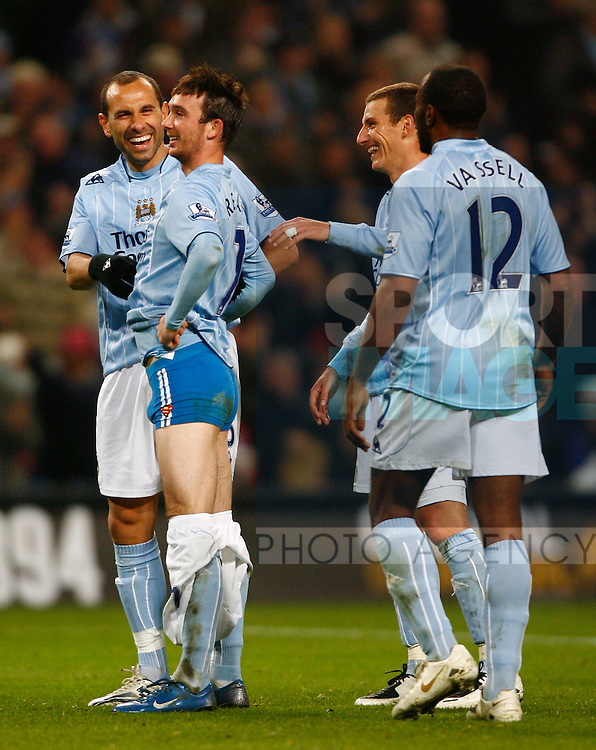 Manchester City's StephenIreland celebrates his goal by revealing blue underpants