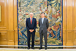 CEO of Hogan Lovells Stephen J. Immelt (l) and partner director of the office of Hogan Lovells in Madrid Lucas Osorio wait for an audience with king Felipe VI. July 12,2019. (ALTERPHOTOS/Francis Gonzalez)