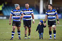Ben Tapuai, Cooper Vuna and Kahn Fotuali'i of Bath Rugby after the match. Aviva Premiership match, between Bath Rugby and Sale Sharks on February 24, 2018 at the Recreation Ground in Bath, England. Photo by: Patrick Khachfe / Onside Images