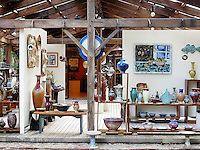 Indoor / outdoor gallery display at Scargo Pottery, Dennis, Cape Cod, MA