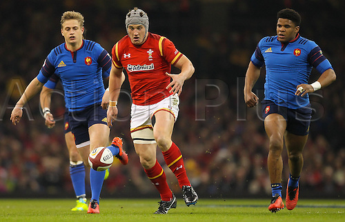 26.02.2016. Principality Stadium, Cardiff, Wales. RBS Six Nations Championships. Wales versus France. Wales Jonathan Davies chases a loose ball