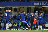 Chelsea Manager, Antonio Conte's reaction at the final whistle during Chelsea vs Huddersfield Town, Premier League Football at Stamford Bridge on 9th May 2018