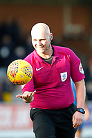 Referee, Charles Breakspear during the Sky Bet League 1 match between AFC Wimbledon and Bristol Rovers at the Cherry Red Records Stadium, Kingston, England on 17 February 2018. Photo by Carlton Myrie.