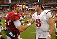 Aug 18, 2007; Glendale, AZ, USA; Arizona Cardinals quarterback Matt Leinart (7) shakes hands with Houston Texans quarterback Matt Schaub (8) following the game at University of Phoenix Stadium. Mandatory Credit: Mark J. Rebilas-US PRESSWIRE Copyright © 2007 Mark J. Rebilas