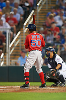 Boston Red Sox right fielder Mookie Betts (50) at bat during a Spring Training game against the Minnesota Twins on March 16, 2016 at Hammond Stadium in Fort Myers, Florida.  Minnesota defeated Boston 9-4.  (Mike Janes/Four Seam Images)