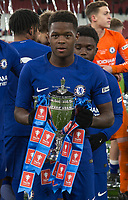 Daishawn Redan of Chelsea U18 poses with the trophy during the FA Youth Cup FINAL 2nd leg match between Arsenal and Chelsea at the Emirates Stadium, London, England on 30 April 2018. Photo by Andy Rowland.