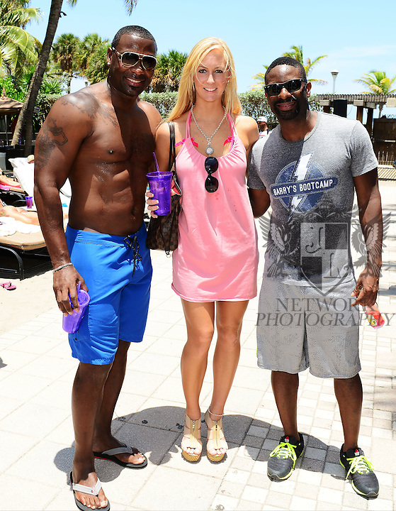 MIAMI BEACH, FL - JUNE 21: Terry Kirby, Rachel Speck and DJ Irie attend  DJ Irie Weekend-IWX - BBQ Beach Bash Pool Party at National Hotel on Saturday June 21, 2014 in Miami Beach, Florida. (Photo by Johnny Louis/jlnphotography.com)