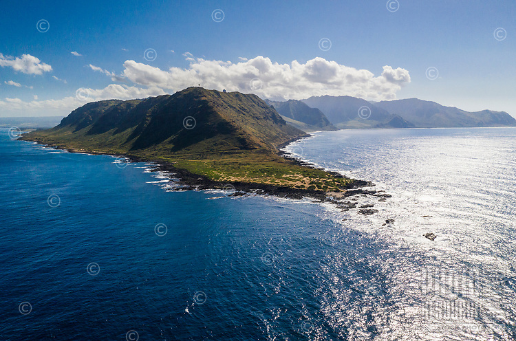 Aerial view of Ka'ena Point, Ka'ena Point State Park, O'ahu.