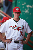 Tri-City ValleyCats Trent Thornton (31) in the dugout before a game against the Brooklyn Cyclones on September 1, 2015 at Joseph L. Bruno Stadium in Troy, New York.  Tri-City defeated Brooklyn 5-4.  (Mike Janes/Four Seam Images)