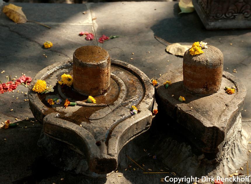 Fruchtbarkeitssymbole, Lingam und Yoni  im Palast, Kota (Rajasthan), Indien