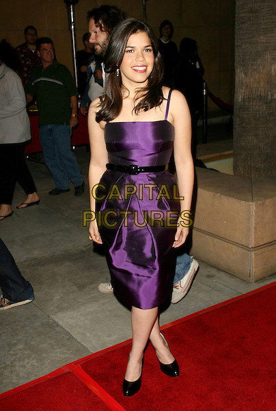 "AMERICA FERRERA.The Fox Searchlight Los Angeles Special Screening of ""Under The Same Moon (La Misma Luna)"" held at The Egyptian Theatre in Hollywood, California, USA..March 11th, 2008           .full length purple dress black shoes belt .CAP/DVS.©Debbie VanStory/Capital Pictures."