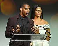 NEW YORK, NY - NOVEMBER 02: Victor Cruz and Camila Alves speaks onstage at the Samsung annual charity gala 2017 at Skylight Clarkson Sq on November 2, 2017 in New York City.  Credit: George Napolitano/MediaPunch