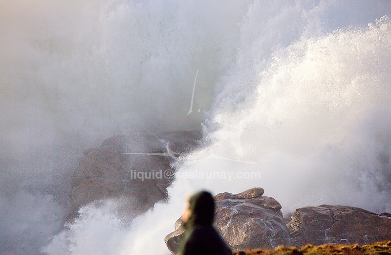 Brittany West Coast battered by Storm Imogen, France.